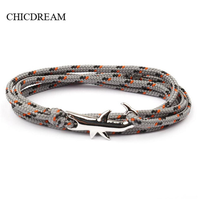 Nautical Sailor Marine Shark Bracelet Men Viking Bracelets Women Pulseira Masculina Bileklik Femme Pulsera Bijoux Rope