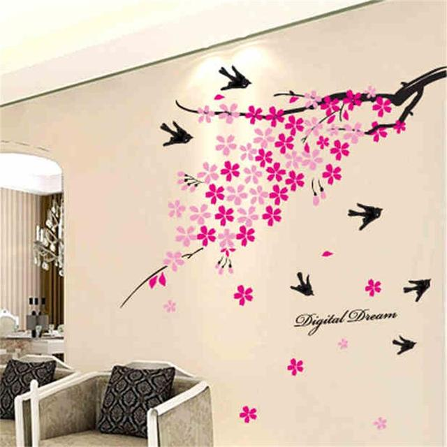 Removable Flowers Stikers Pink Peach Home Decoration Wall Stickers ...