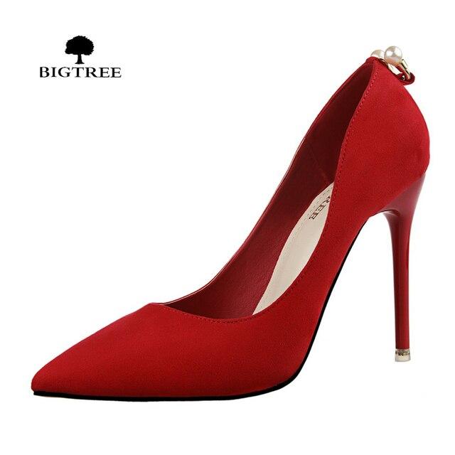 BIGTREE Fashion Womens Pearl High Heels Shoes Designer Shoes Ladies Luxury  Valentine Pumps Sapatos Femininos De 04ef511410