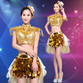 Jazz Costume Women Gold Sequins Modern Dance Costume Hip Hop DS Stage Performance Costume for Female Singer