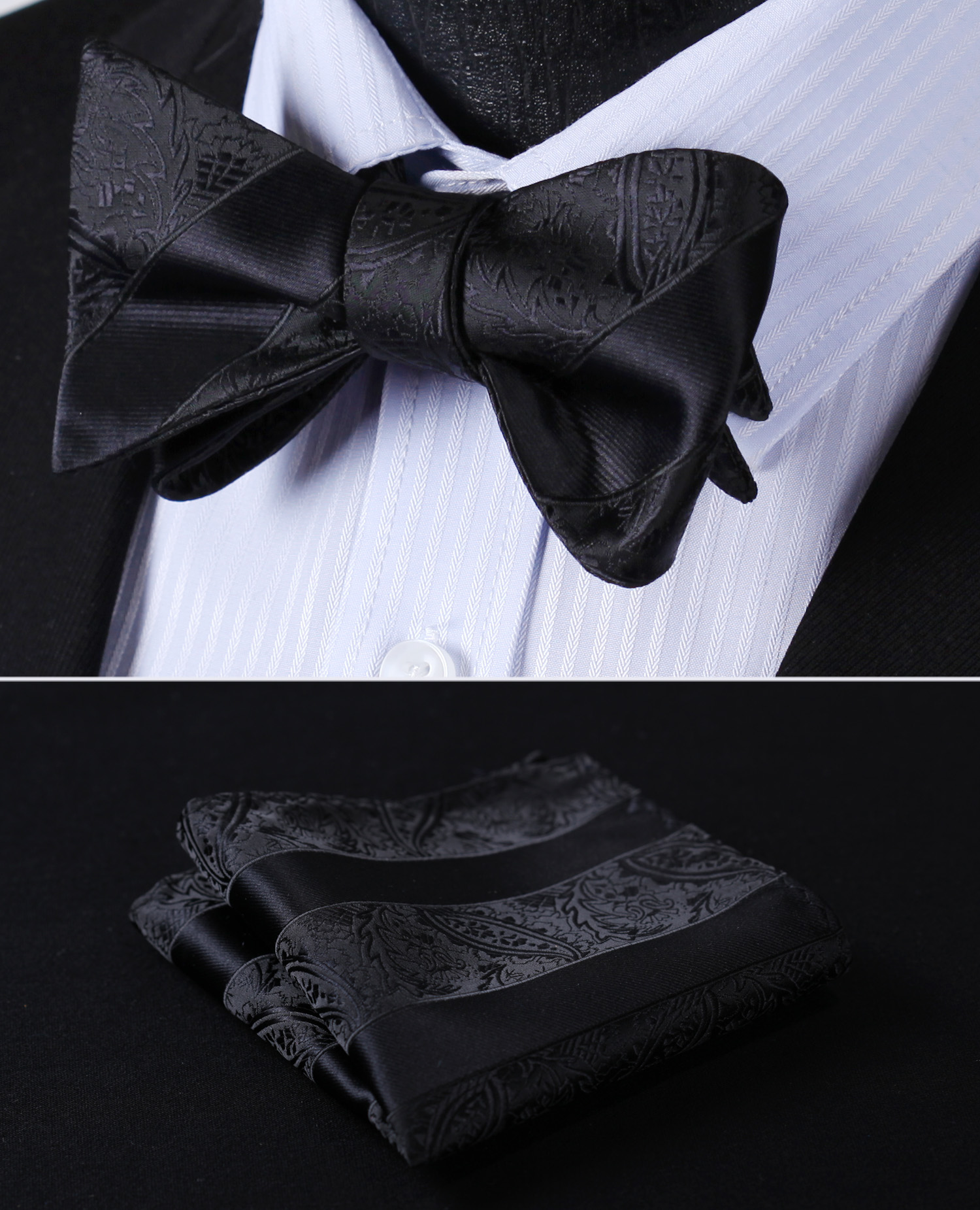 3735425d370a Detail Feedback Questions about BP804LS Black Paisley Bowtie Men Silk Self Bow  Tie handkerchief set on Aliexpress.com | alibaba group