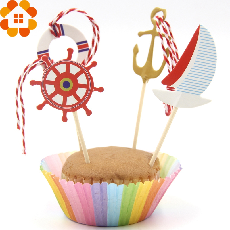 24PCS/Set Sailing Anchor Tour Party Cupcake Toppers Birthday Cakes Topper Picks For Boy Birthday Party Decoration Supplies