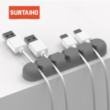 Suntaiho USB Cable Organizer Silicone Cable Winder Plug Holder Management Desk Wire Storage Device Desk Wire Organizer Earphone