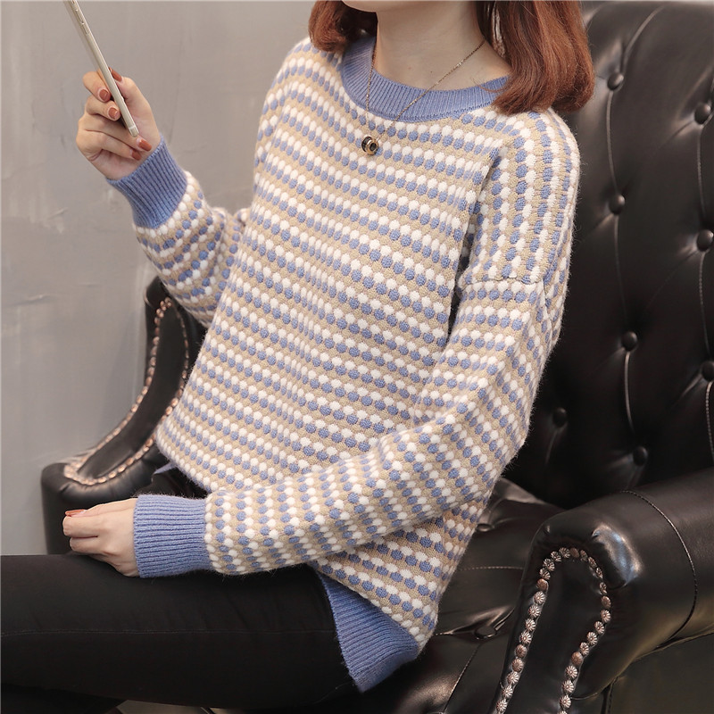 New winter round clip color knit shirt sleeve 38 women's wear