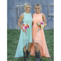 Country Western Peach Mint Green Bridesmaid Dresses Under 100 High Low CHiffon Cheap Wedding Guest Dresses