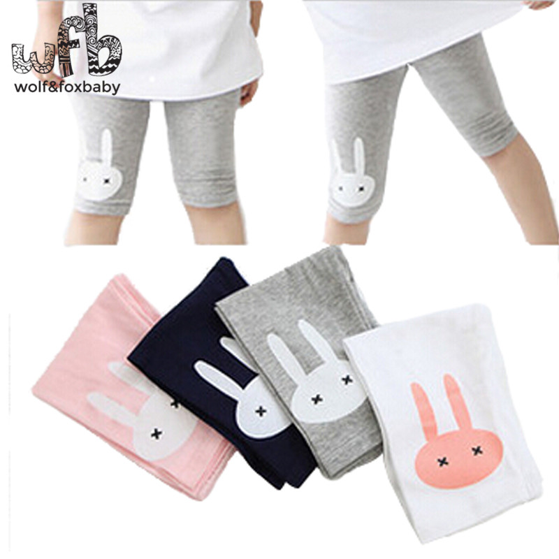 Retail 3 10years 4 color rabbit footless girls knee length kid Five pants Cropped font b