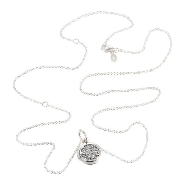 100% 925 Collar Redondo Firma con Cubic Zirconia Sterling de Plata-Joyería Del Encanto de Los Colgantes para Las Mujeres