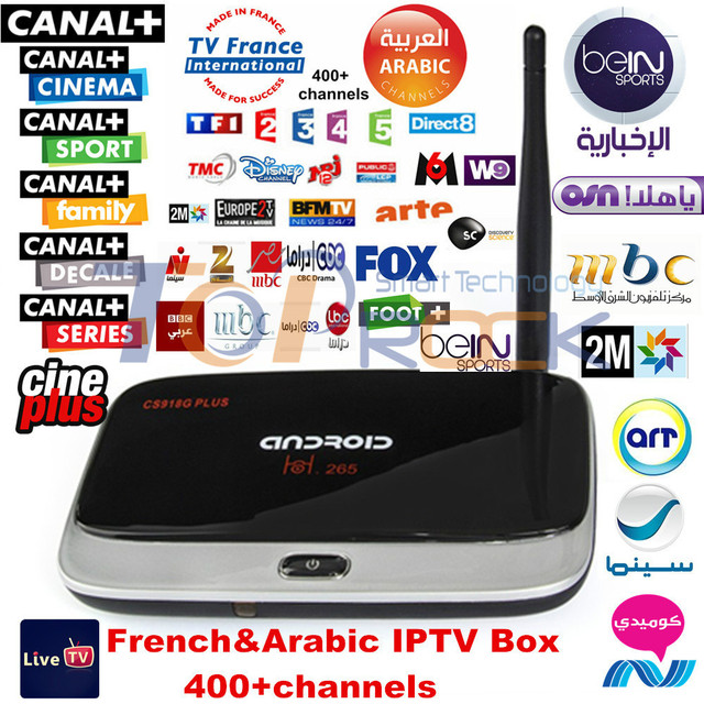US $114 9 |Arabic & French IPTV Box MBC OSN Bein Sport Canal plus 400  channels Quad core Cs918G plus Android TV Box with 1 Year Account-in  Set-top