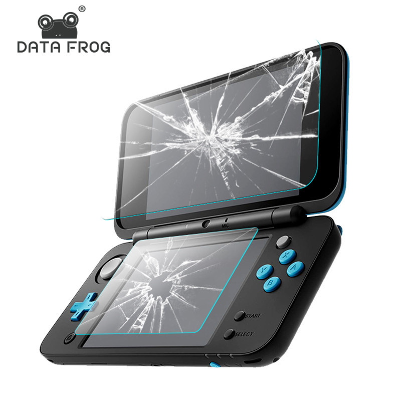 DATA FROG 2 Pcs Tempered Glass Screen Protector For Nintend New 2DS XL/LL Premium Full Cover Screen Protector Film