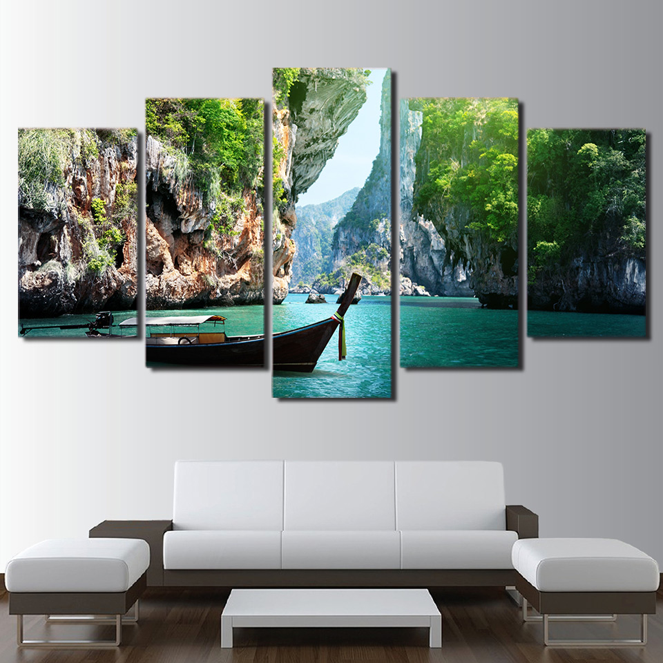 Art Pictures HD Printed Home Decor Posters Framework 5 Panel Nature Canyon Landscape Modern Painting On Canvas Living Room Wall|paintings on canvas|modern paintingsmodern paintings on canvas - AliExpress
