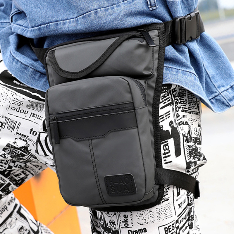 High Quality Nylon Men Drop Leg Bag Fanny Pack Motorcycle Riding Casual Shoulder Cross Body Thigh Male Hip Belt Waist Bags