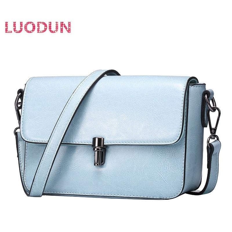 LUODUN 2018 spring and summer new cowhide handbags small square bag leather shoulder Messenger bag ladies bag
