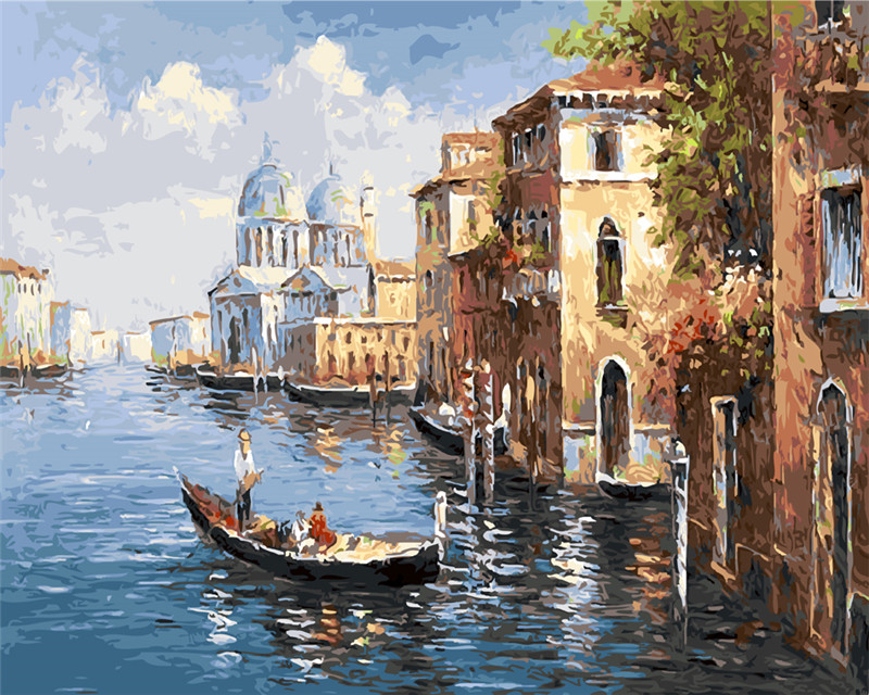 Oil Painting Venice City of water paint picutre By Numbers Digital post Coloring by hand Unique Gift room decor Home Decoration