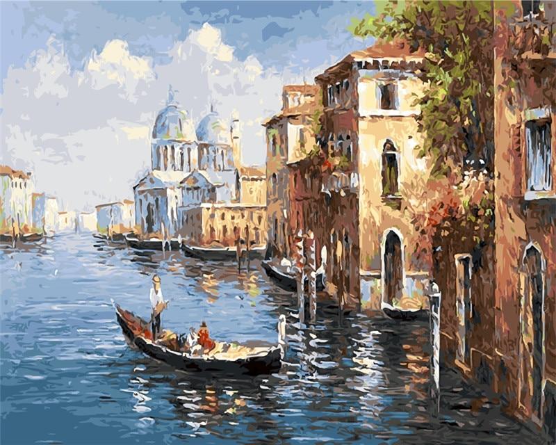 Pintura A óleo de Veneza Cidade de água pintura picutre Por Números Digital pós Coloração à mão Original Do Presente decoração da sala de Casa decoração