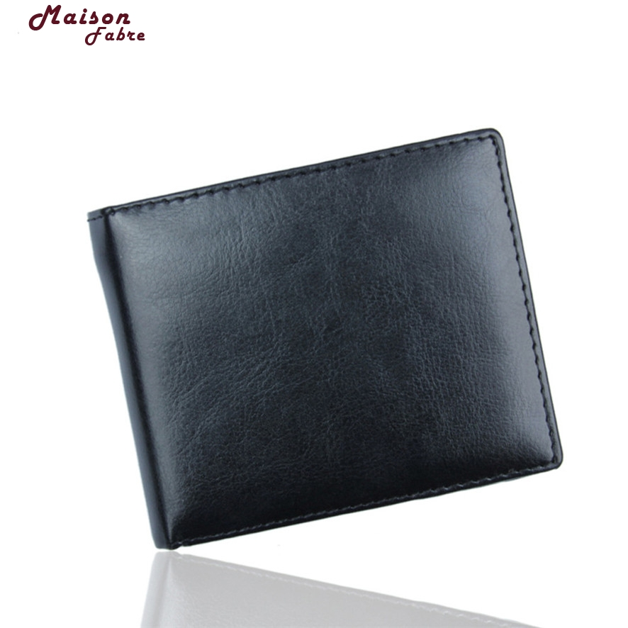 Fashion wallet mens Black Men Bifold Business Leather Wallet ID Credit Card Holder Purse Pockets carteira masculina 2017 #23 never leather badge holder business card holder neck lanyards for id cards waterproof antimagnetic card sets school supplies
