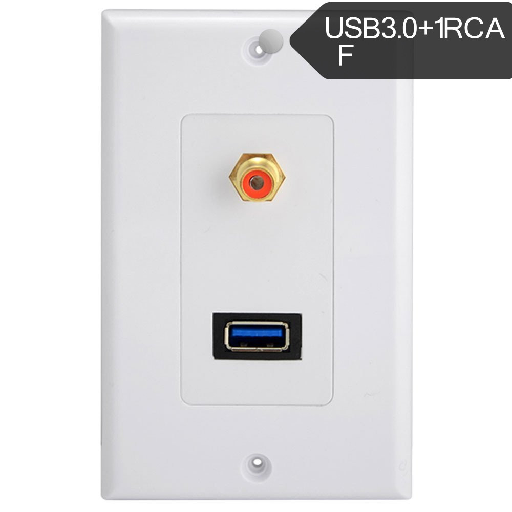 Outlet Faceplate Usb 3.0 Port Rca Phono Audio Av Wall Socket Receptacle Outlet Face
