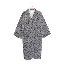 Летние Новые мужские хлопковые пижамы высокого качества кимоно с длинными рукавами банный халат свободная ночная рубашка с принтом в японском стиле Домашняя одежда M L