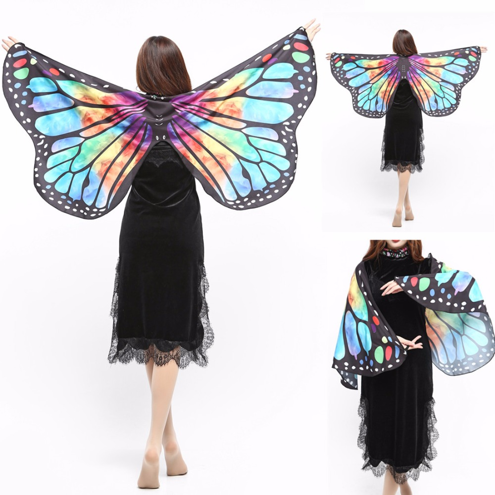 Bright colors butterfly costume Halloween costume for women Summer women butterfly Wings shawl Woman party dress