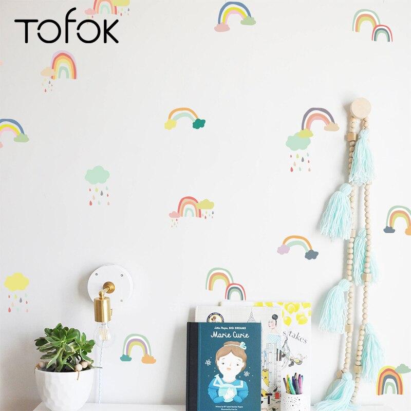 Tofok 18/24 pcs/set dessin animé arc-en-ciel mur autocollant Transparent PVC enfants chambre murale stickers muraux bébé chambre décoration fournisseur