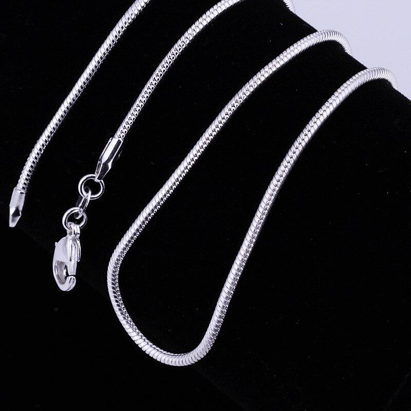 Ожерелье из серебра 925 пробы с застежкой-карабином, 2 мм (16/18/20/22/24 дюйма)