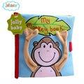 Fundamento do bebê toys macaco zoo livro de pano cognitivo móvel suave plush toys para crianças cedo educacional livre derramar bebe