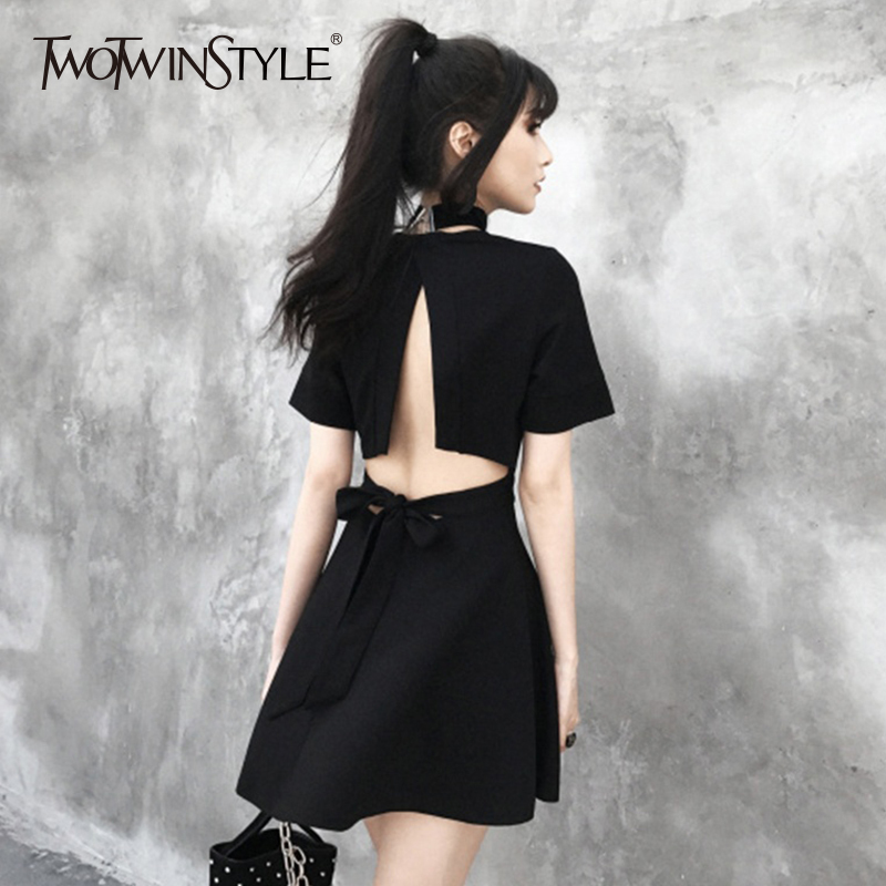 TWOTWINSTYLE Backless Mini Dress For Women V Neck Short Sleeve Split Sexy Lace Up Bow Dresses Summer Fashion Sweet 2018 Clothing