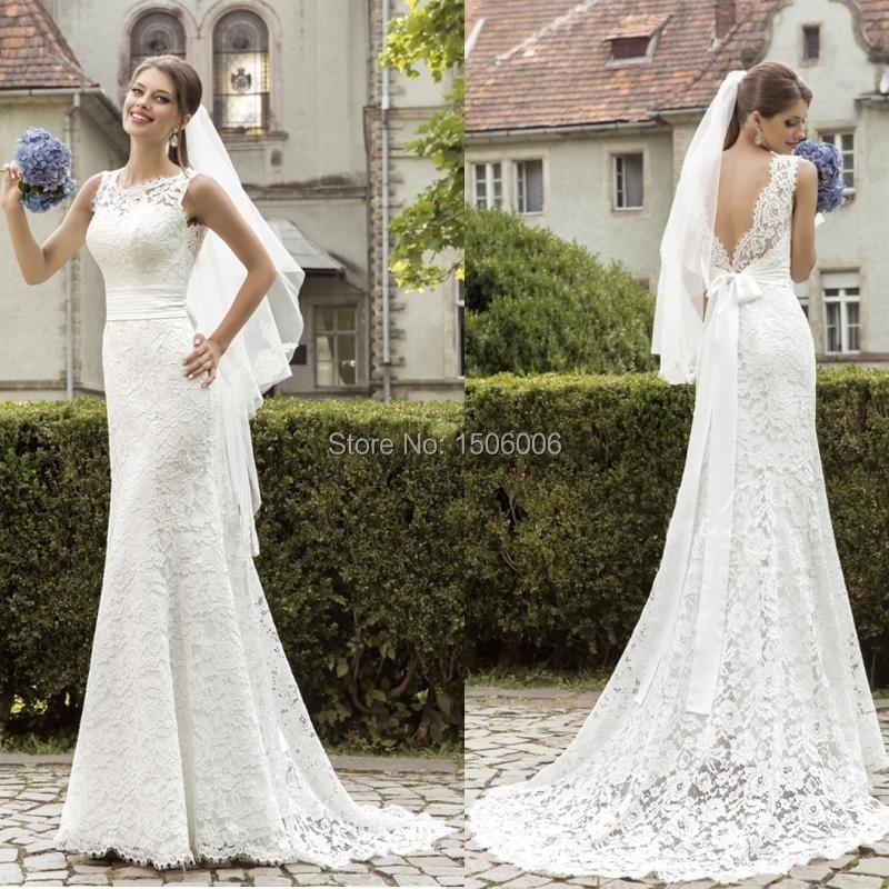 moda cordón de la sirena backless vestido de novia 2016 sin mangas