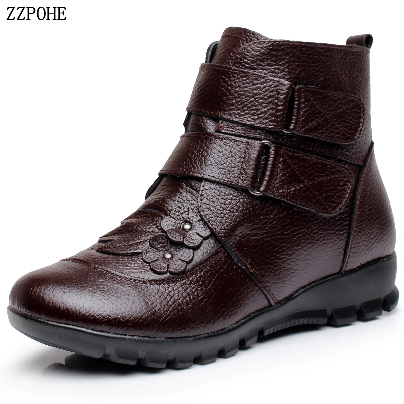 ZZPOHE High Quality Winter Women Shoes Woman Genuine Leather Flat Ankle Boots Lady Soft Warm Snow Boots Women Boots Plus Size morazora plus size 34 43 new keep warm ankle snow boots round toe pu soft leather platform shoes woman sweet women winter boots