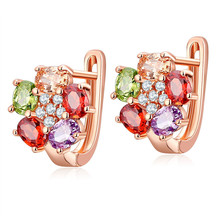 FYM High Quality Rose Gold Color Flower Shape Cubic Zircon Crystal Earring Wedding Hoop Earrings For Women Party Bijoux Jewelry fym high quality gold colors bijoux jewelry hoop earrings crystal cubic zirconia earrings clear earring for women party
