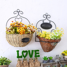 The countryside wicker basket hanging Home Furnishing creative clothing shop wall decoration flower stand