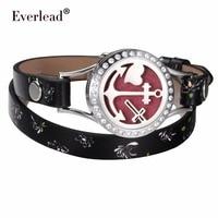 EVERLEAD Essential Oil Bracelet Real Leather Bracelets Aromatherapy Perfume Diffuser Locket Anchor Wrap Romantic Lockets Bangle