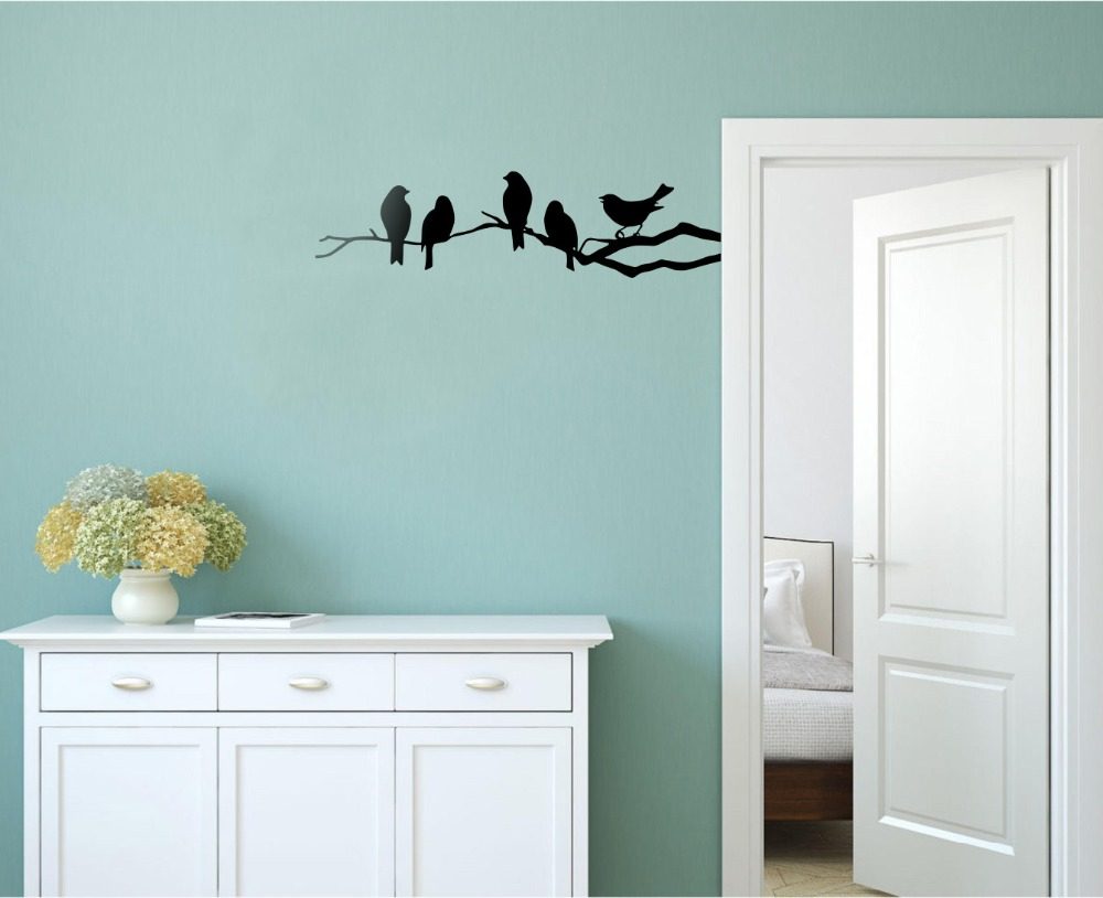 Cute Five Birds In The Tree Wall Stickers With 11.8\