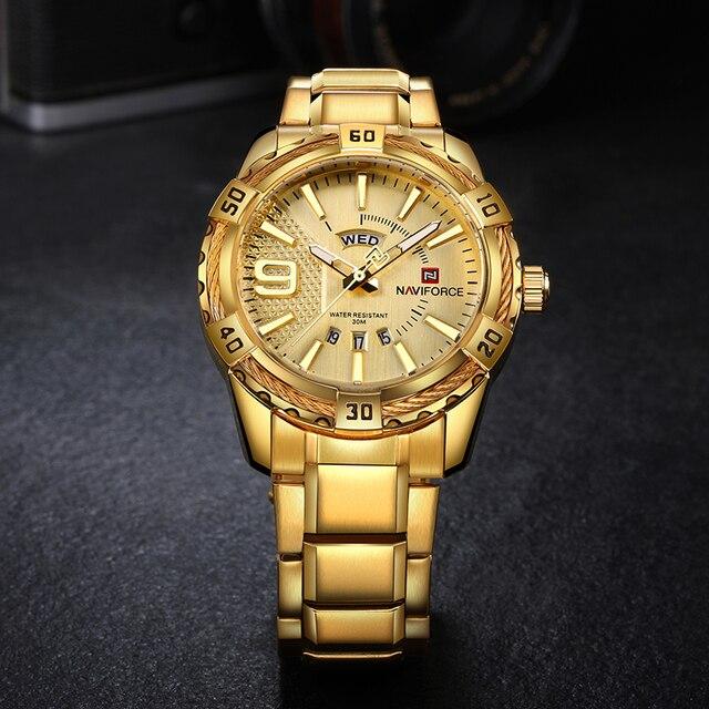 NAVIFORCE Men's Luxury Men Waterproof Stainless Steel Quartz Watches 4