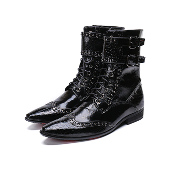 Genuine Leather 2 buckles zip lace-up ankle boots fashion  Rivet  dress shoes pointed toe Martin boots big size 46
