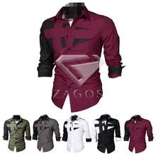 Herrenmode Baumwollmischung Dünne Beiläufige Kleid Fit T-Shirts Patchwork Langarm M-XXXL Wählen Großhandel MC0016