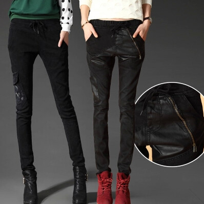 ФОТО Autumn fashion women jeans solid color Hip-Hop Casual Harem pants PU pocket decoration cotton black trousers