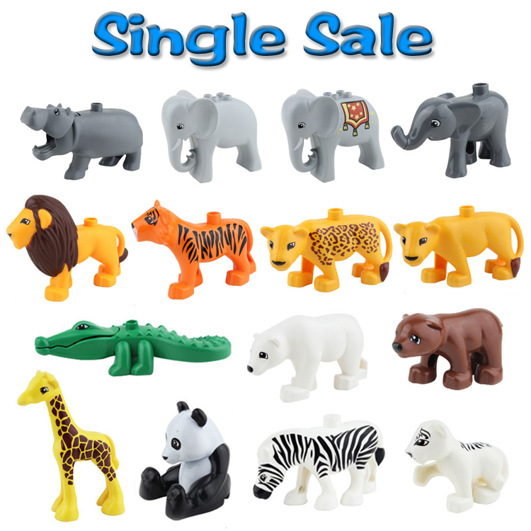 Animal Zoo Original Big Building Blocks Classic Accessories Compatible with Duplo Enlighten Child Baby Toys DIY Set Bricks Gift child early educational toys alice board cartoon animal zoo wood blocks hand crafted brain teaser candy color gift for boy girl