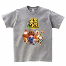 Children Tshirt Bear and Paradise Digital Printed Cartoon Summer Short-sleeved T-shirt Chinese Popular Animation M