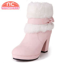 Gladiator Snow Boots High Heels Pointed Toe Women Boots Winter Solid Bowknot Platform Wedding Ankle Boots Size 33-39(China)