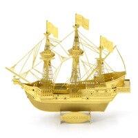QuanPaPa New Golden Hind Metal 3D DIY Stainless Steel Scale Miniature Model Kit Hobbies Building