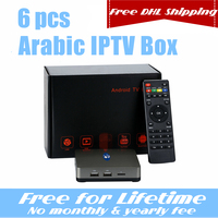 6 PCS free DHL shipping Vshare Arabic IPTV Box support 860+ Live TV Channels,no monthly/yearly fee