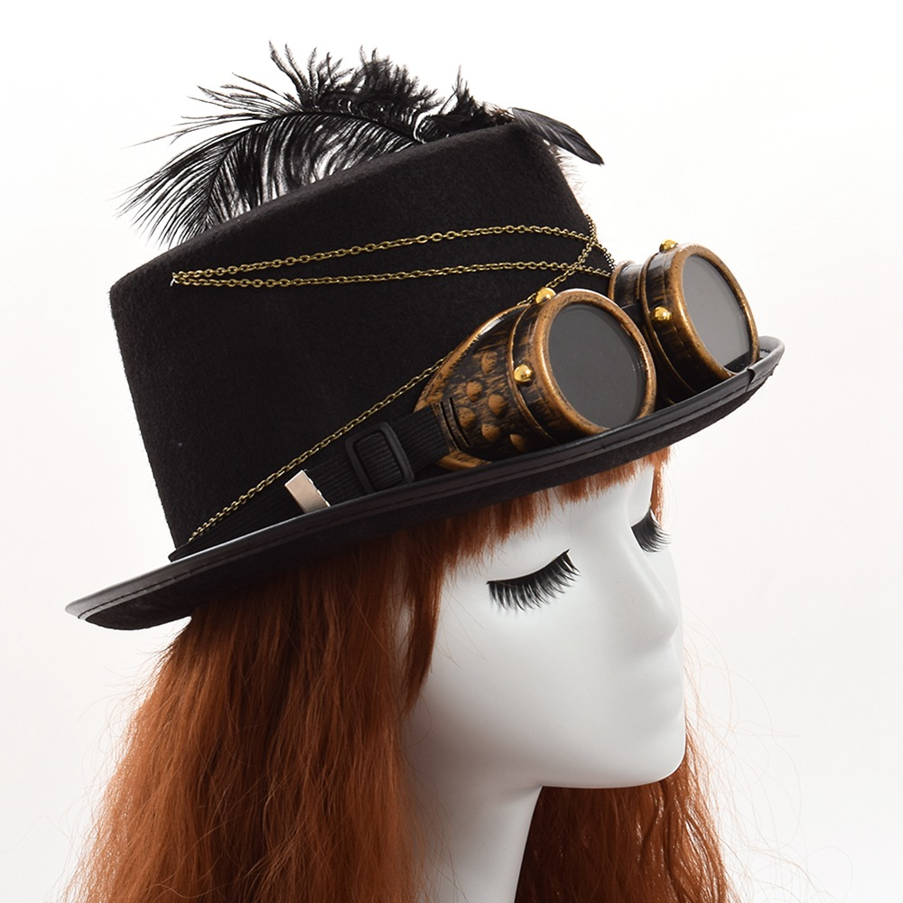 black handmade steampunk hat with feathers women