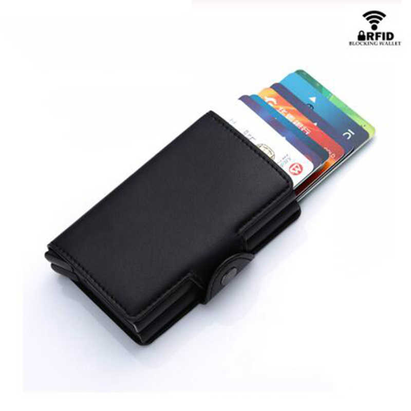 BYCOBECY Aluminum Double Boxes Credit Card Holder PU Leather Smart Wallet Anti-theft RFID Card Case Business New Short Purse