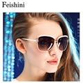 FEISHINI High Quality FDA Fashion Driving oculos de sol feminino 5COLOR UVA Big Frame Vintage Sunglasses Women Polarized Brand