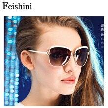 FEISHINI White High Quality Fashion Driving Oculos De Sol Feminino Big Frame Metal Vintage Sunglasses Women Polarized Brand