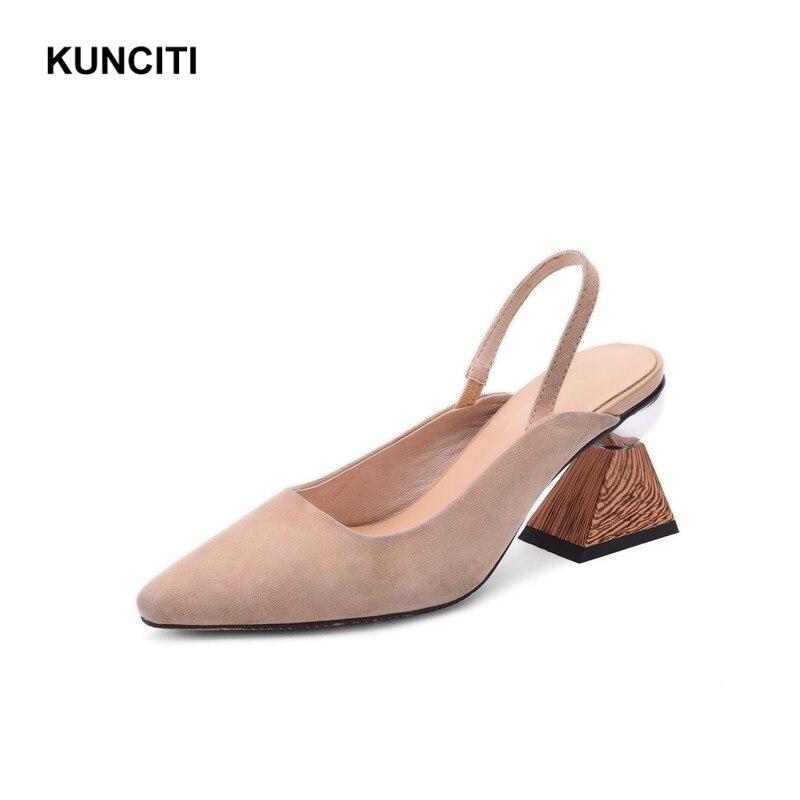 2019 สตรีรองเท้าส้นสูงฤดูร้อนรองเท้าหนังนิ่มสุภาพสตรีรองเท้าแตะ Slingback แปลก Heel Fetish Footwears คุณภาพสูง X922-ใน รองเท้าส้นสูง จาก รองเท้า บน   3