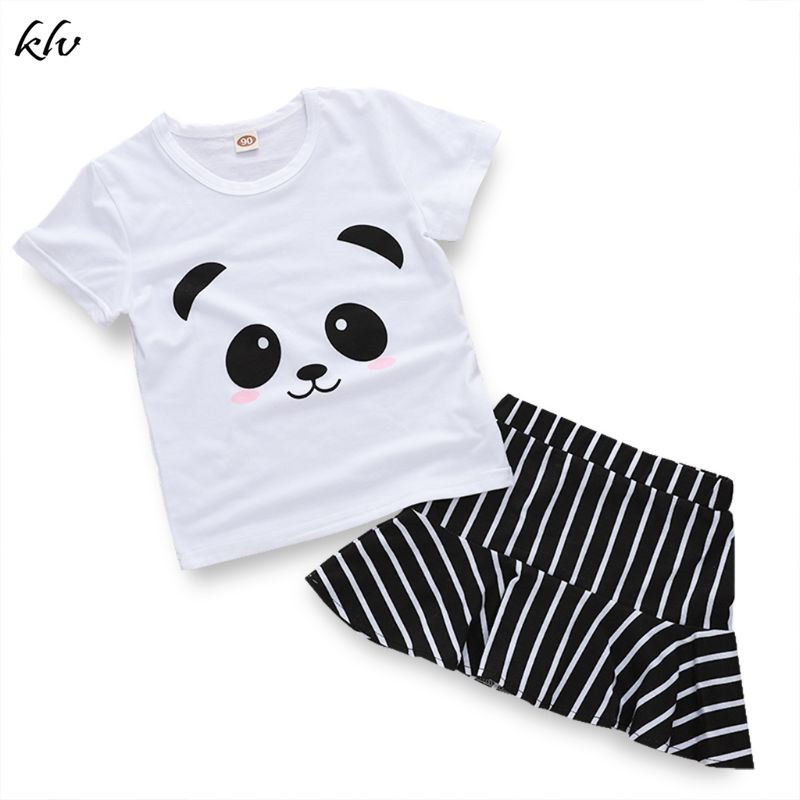 Clothing Sets Engagement & Wedding 2pcs Kids Summer Baby Girls Clothes Sets Cute Cartoon Panda Tops T-shirt+striped Skirt Outfits Suit Sets Supplement The Vital Energy And Nourish Yin