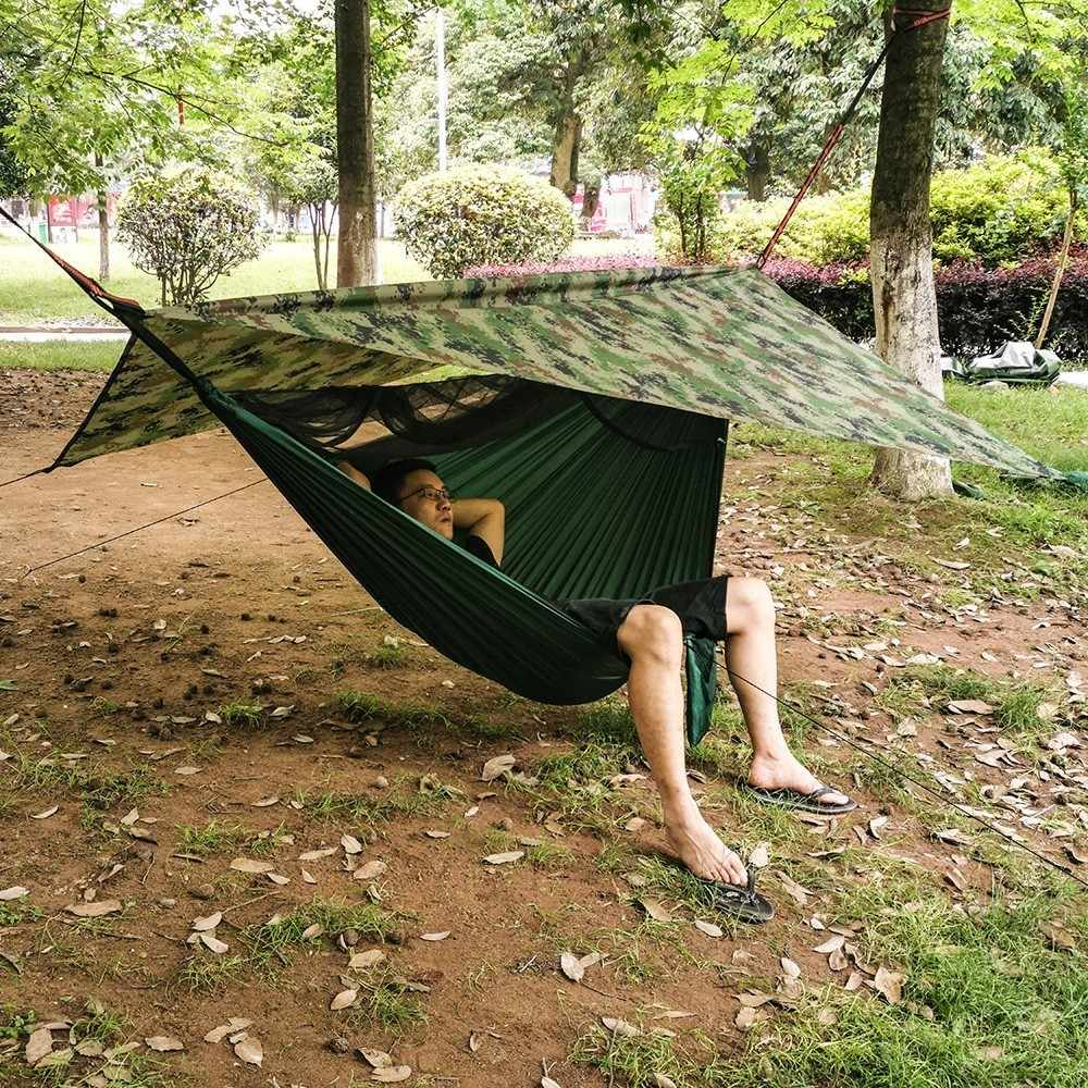 Portátil Camping Hammock Com Rede de Mosquito E Mosca da Chuva Conjunto Lona Dossel Barraca de Acampamento Ao Ar Livre do Mosquito Cama Balanço À Prova D' Água