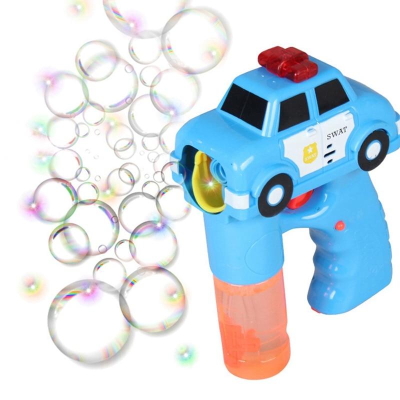 2018 New Outdoor Automatic Electric Toy Car Fire Engine Soap Blow Bubbles Gun Machine Music Light Water Gun Kids Game Bubble