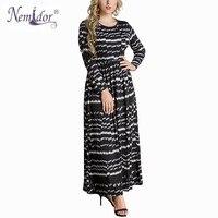 Nemidor Kadınlar Casual Uzun Kollu Sıkı Bel Patchwork Elbise O-Boyun Sonbahar Artı Boyutu 6XL Vintage Ayak Bileği Uzunluğu Uzun Elbise